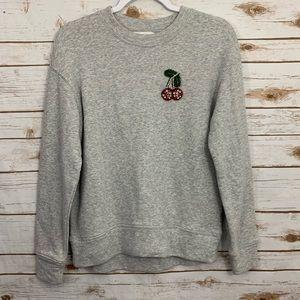 H&M Crewneck Sweatshirt With Embellished Cherries